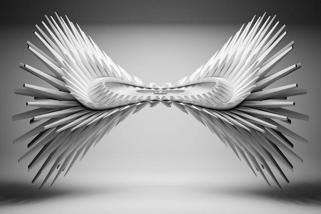 Ilustração 3d de asas geo-simétricas brancas sobre um fundo claro. forma futurista, modelagem abstrata.