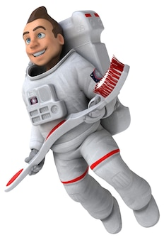 Ilustração 3d de astronauta engraçado