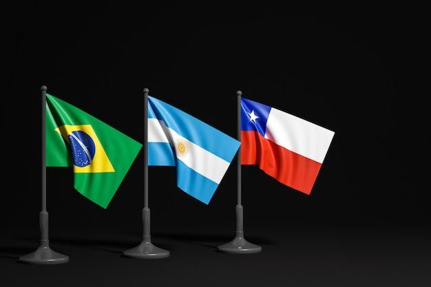 Ilustração 3d de bandeiras nacionais
