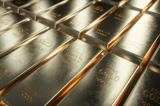 Ilustração 3d de barras de ouro branco