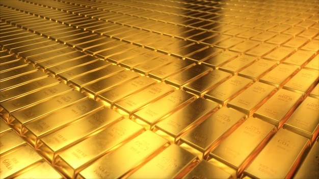 Ilustração 3d de barras de ouro