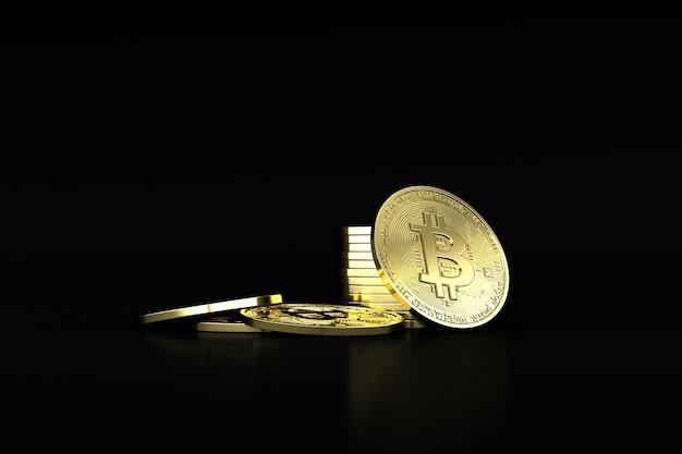 Ilustração 3d de bitcoin criptomoeda. moeda futura.