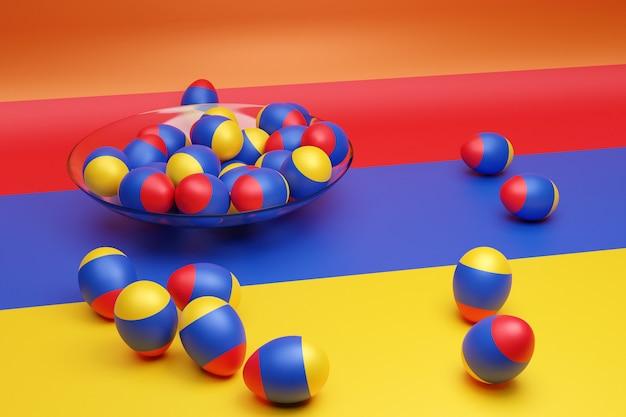 Ilustração 3d de bolas com a imagem da bandeira nacional da armênia