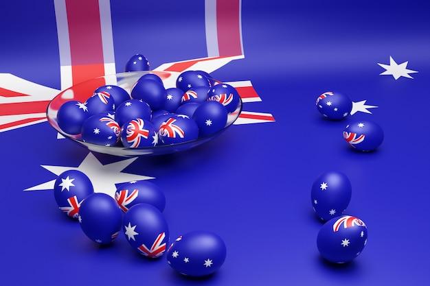 Ilustração 3d de bolas com a imagem da bandeira nacional da austrália