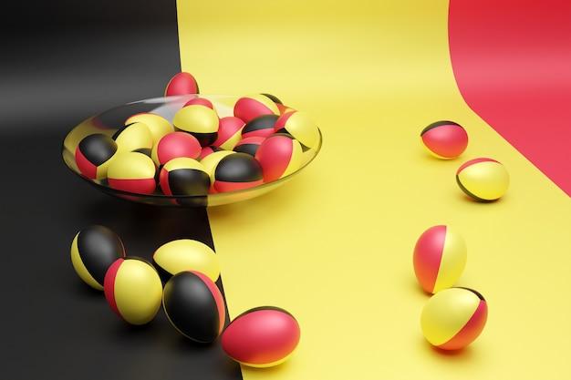 Ilustração 3d de bolas com a imagem da bandeira nacional da bélgica