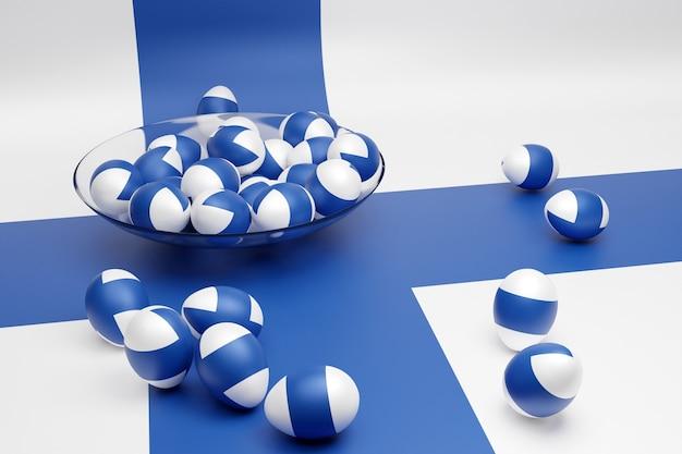 Ilustração 3d de bolas com a imagem da bandeira nacional da finlândia