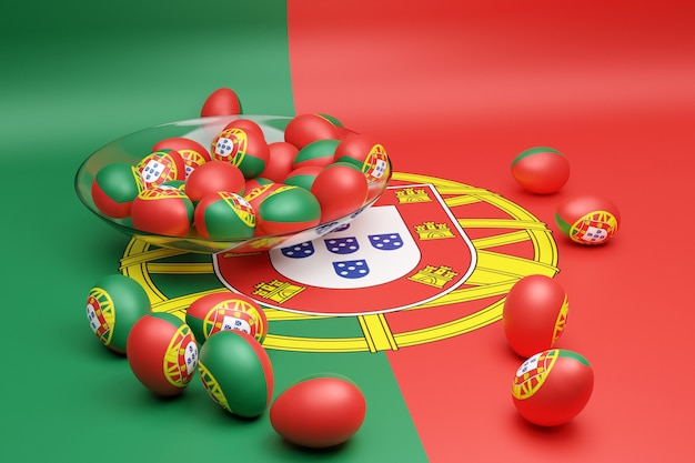 Ilustração 3d de bolas com a imagem da bandeira nacional de portugal