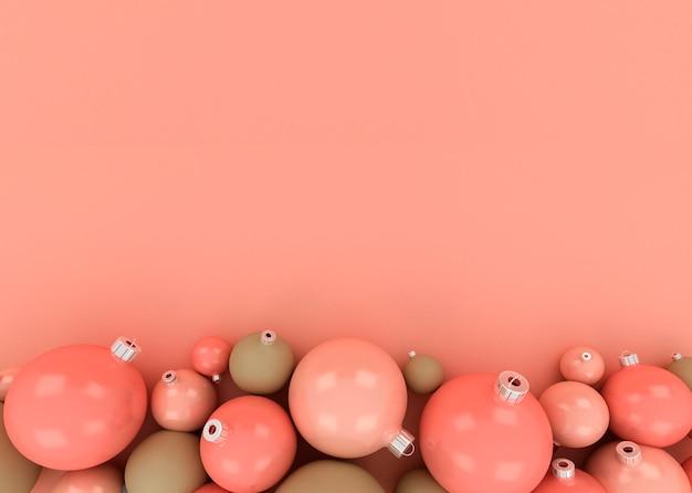 Ilustração 3d de bolas de natal