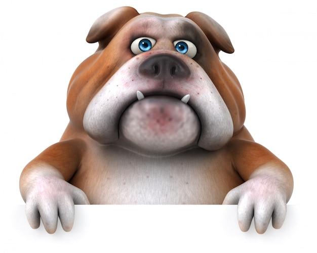Ilustração 3d de bulldog divertido