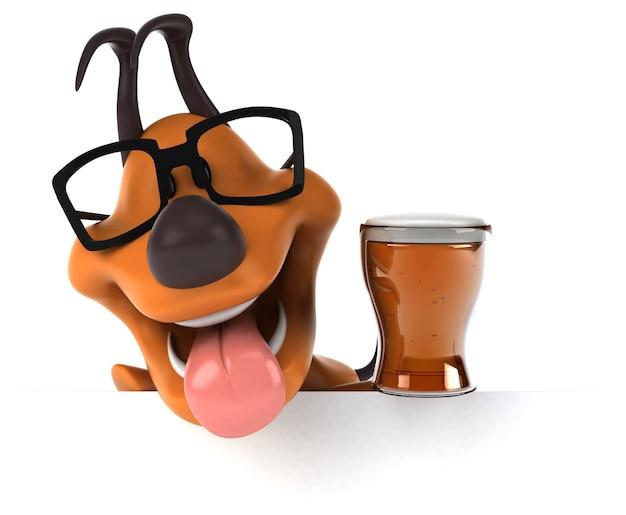 Ilustração 3d de cachorro divertido