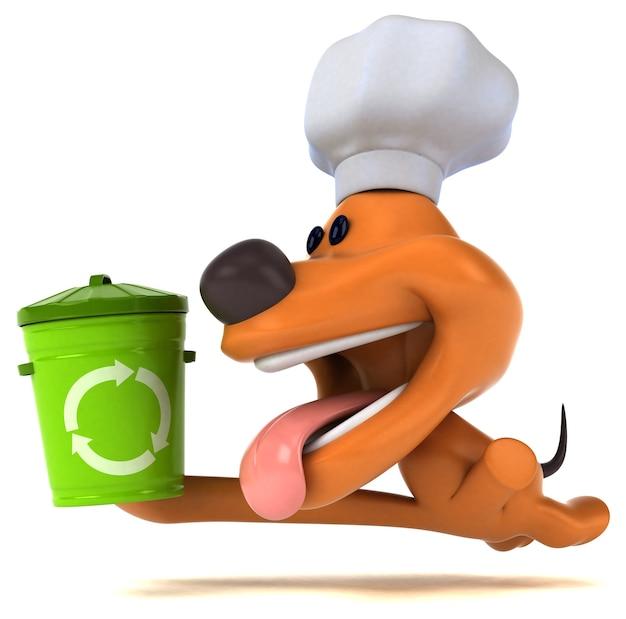 Ilustração 3d de cachorro engraçado com lixeira