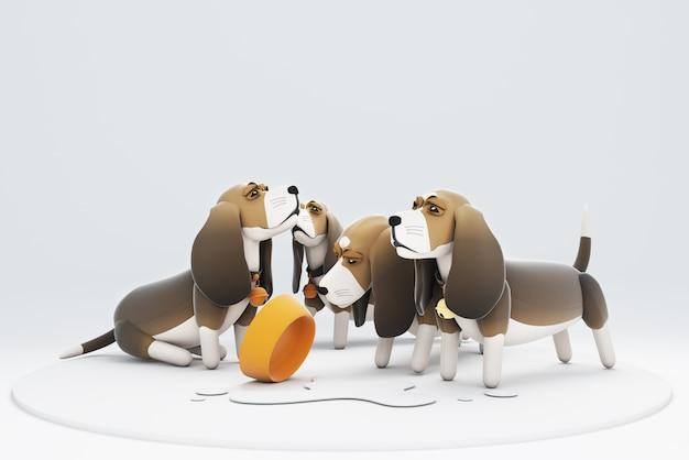 Ilustração 3d de cães derramando leite