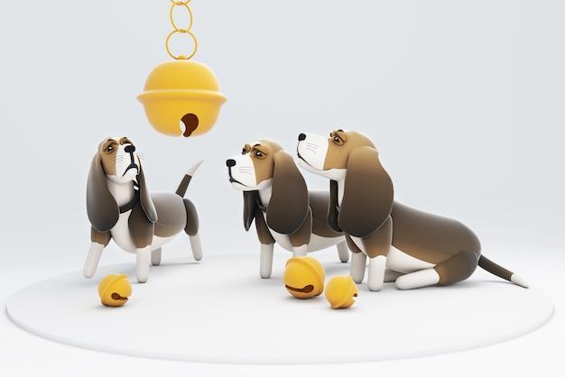 Ilustração 3d de cães olhando para um sino