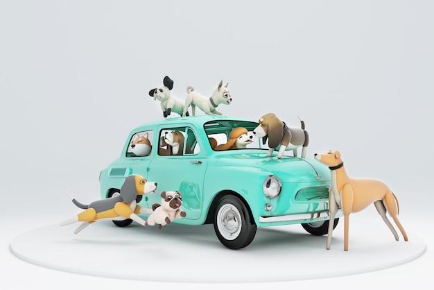 Ilustração 3d de cães que vão viajar de carro