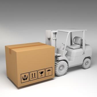 Ilustração 3d de caixas de papelão