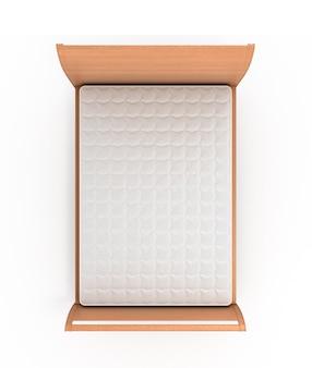 Ilustração 3d de cama de madeira com colchão isolado no branco