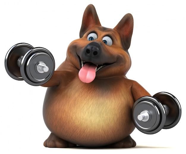 Ilustração 3d de cão pastor alemão