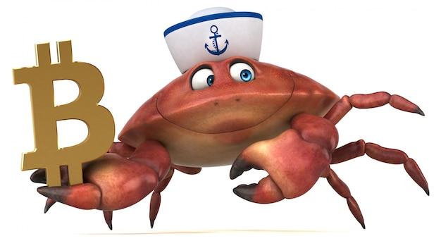 Ilustração 3d de caranguejo divertido