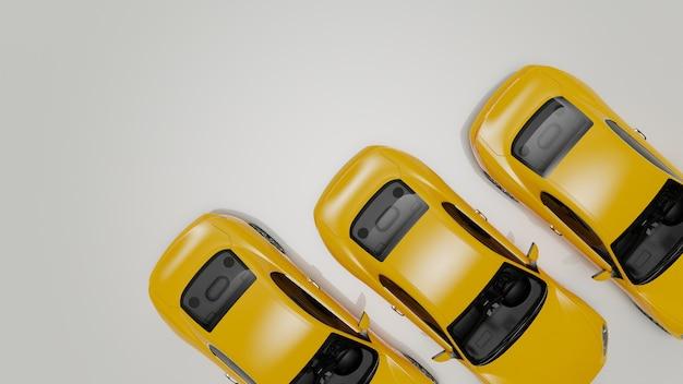 Ilustração 3d de carros amarelos em uma superfície branca