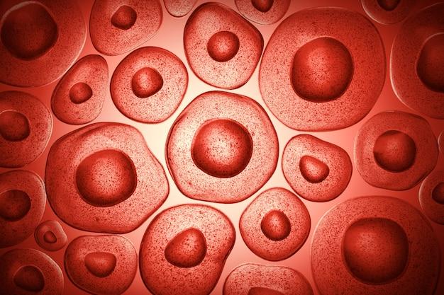 Ilustração 3d de células-tronco embrionárias sob um microscópio, fundo da terapia celular.