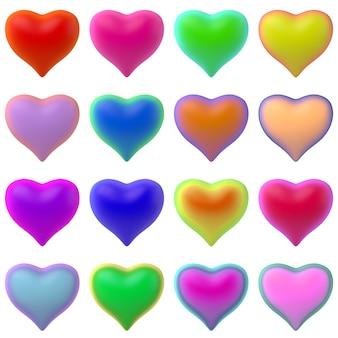 Ilustração 3d de conjunto de corações coloridos