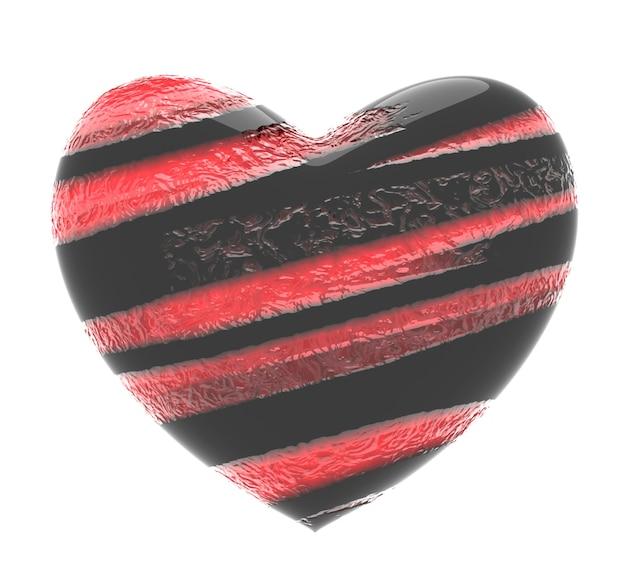 Ilustração 3d de coração preto com listras diagonais vermelhas texturizadas isoladas no branco