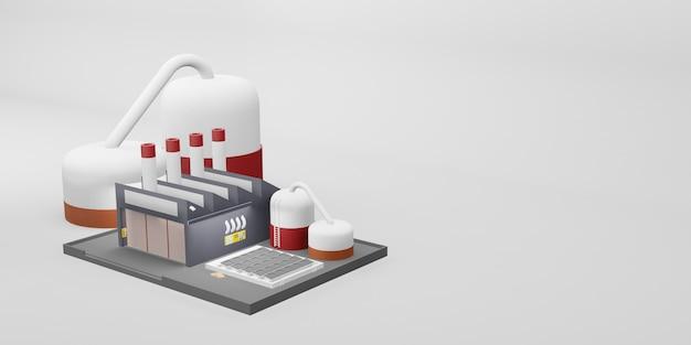 Ilustração 3d de desenho industrial de construção industrial de fábrica
