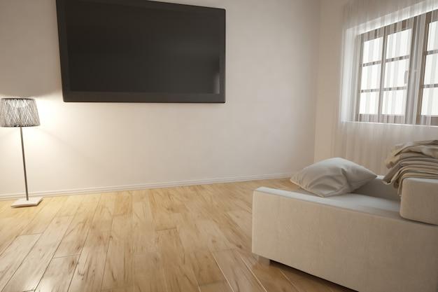 Ilustração 3d de design de interiores moderno