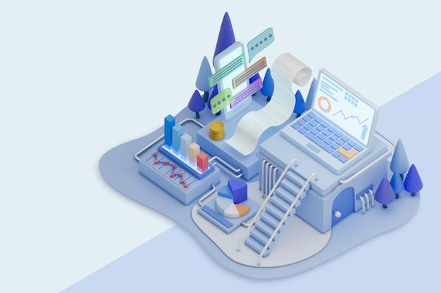 Ilustração 3d de design moderno de análise de dados