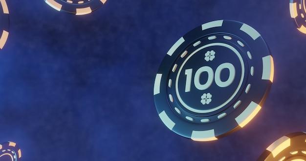 Ilustração 3d de fichas de pôquer, tokens de cassino bacgkround