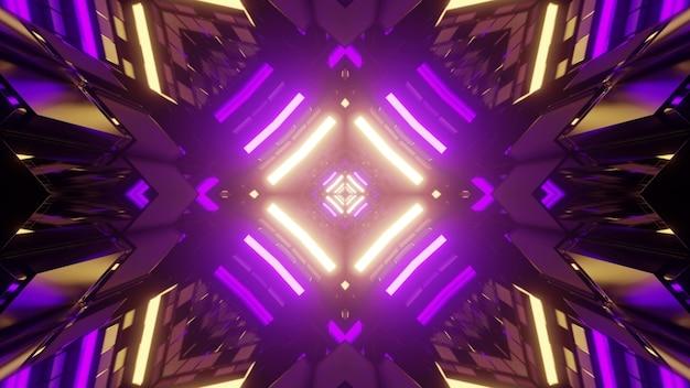 Ilustração 3d de figuras geométricas altas refletindo a iluminação de néon roxa e amarela brilhante como fundo simétrico