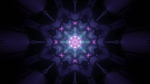 Ilustração 3d de figuras geométricas nítidas formando um ornamento de caleidoscópio em forma de estrela multifacetada com luzes de néon brilhantes na escuridão