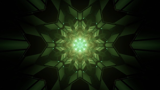 Ilustração 3d de figuras geométricas simétricas verdes formando padrão fractal caleidoscópio em túnel escuro