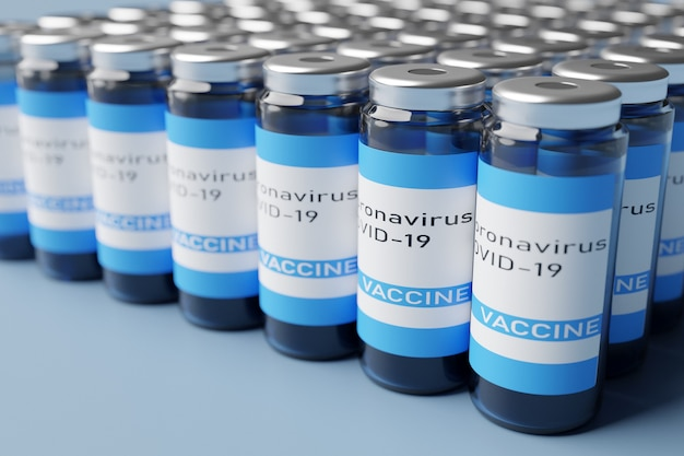 Ilustração 3d de fileiras de frascos descartáveis com vacina de coronavírus covid-19 em fundo azul