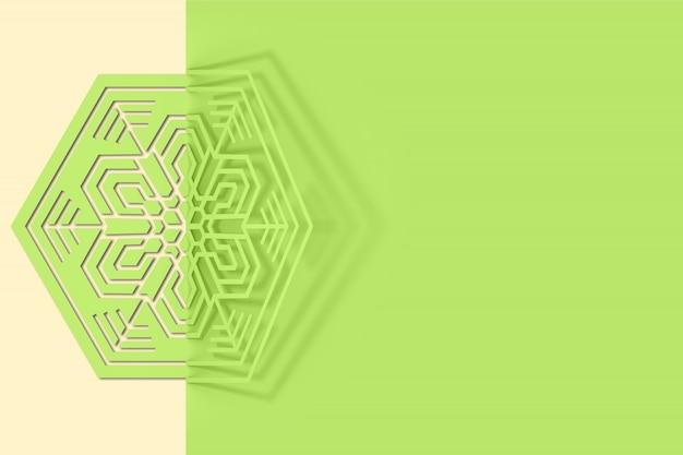 Ilustração 3d de floco de neve de papel