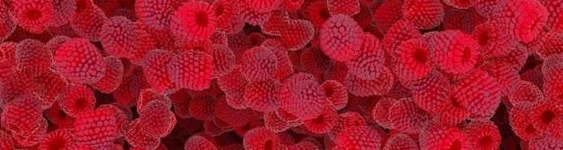 Ilustração 3d de framboesa vermelha suculenta