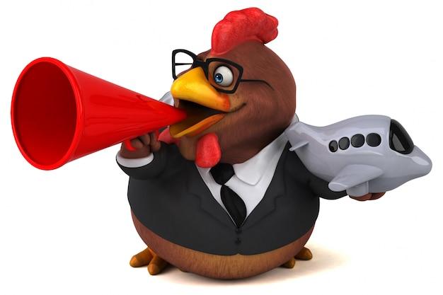 Ilustração 3d de frango divertido