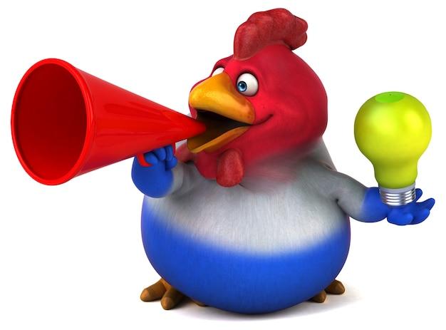 Ilustração 3d de frango engraçado