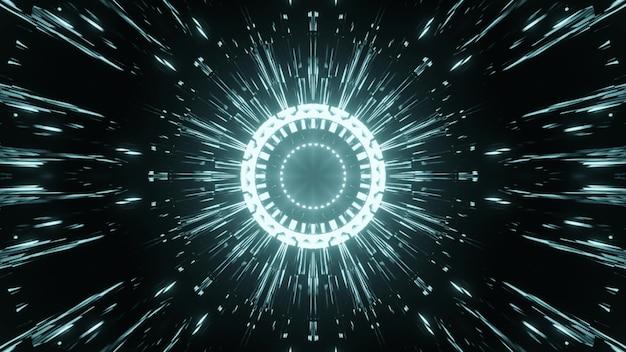 Ilustração 3d de fundo abstrato com linhas brilhantes no ciberespaço escuro