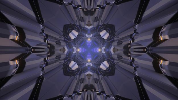 Ilustração 3d de fundo abstrato de túnel caleidoscópico sem fim