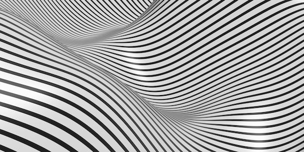 Ilustração 3d de fundo de onda oscilante de padrão zebra