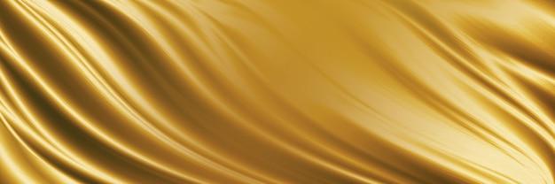 Ilustração 3d de fundo de textura de tecido dourado