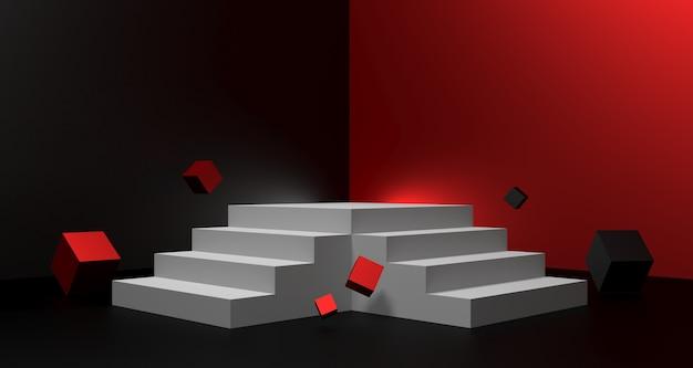 Ilustração 3d de fundo preto de venda sexta-feira com pódio vazio para o conceito de exibição de produto.