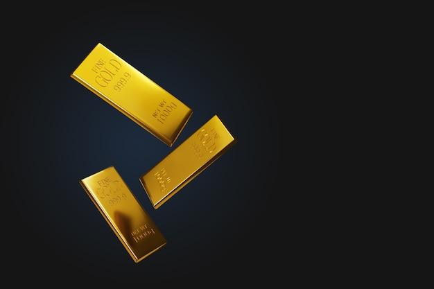 Ilustração 3d de fundo preto e barras de ouro