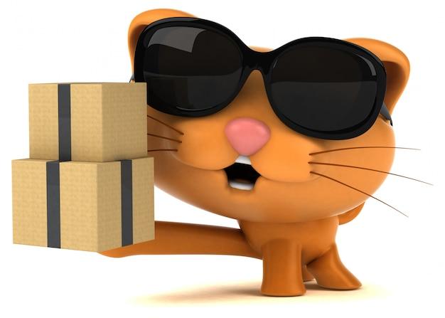 Ilustração 3d de gato divertido