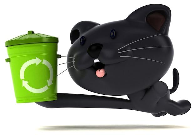 Ilustração 3d de gato engraçado com lixeira