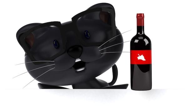 Ilustração 3d de gato engraçado