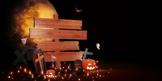 Ilustração 3d de halloween com sinal de madeira.