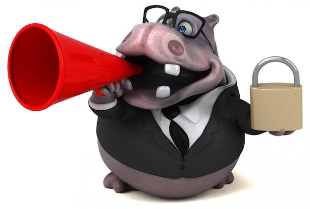 Ilustração 3d de hipopótamo divertido