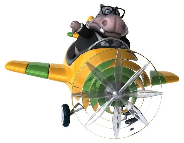 Ilustração 3d de hipopótamo engraçado